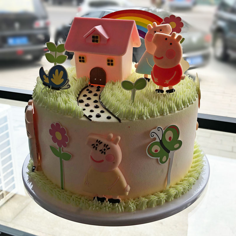 小猪佩琪仿生日蛋糕 卡通情景生日蛋糕10#